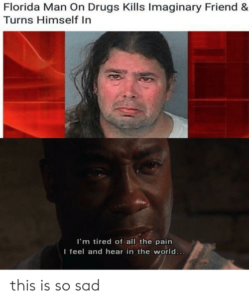 Drugs, Florida Man, and Florida: Florida Man On Drugs Kills Imaginary Friend &  Turns Himself In  I'm tired of all the pain  I feel and hear in the world... this is so sad
