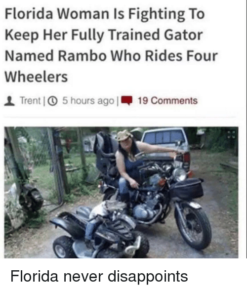 Memes, Rambo, and Florida: Florida Woman Is Fighting To  Keep Her Fully Trained Gator  Named Rambo Who Rides Four  Wheelers  1 Trent IO 5 hours ago |呷19 Comments Florida never disappoints