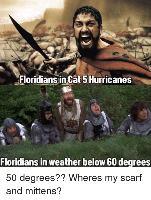 scarf: Floridians inCat 5Hurricanes  Floridians in weather below 60 degrees 50 degrees?? Wheres my scarf and mittens?