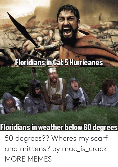 scarf: Floridians inCat 5Hurricanes  Floridians in weather below 60 degrees 50 degrees?? Wheres my scarf and mittens? by mac_is_crack MORE MEMES