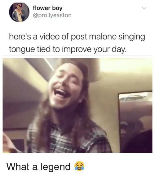 Post Malone, Singing, and Flower: flower boy  @prollyeaston  here's a video of post malone singing  tongue tied to improve your day What a legend 😂
