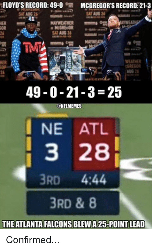 Atlanta Falcons: FLOYD'S RECORD: 49-0  MCGREGOR'S RECORD: 21-3  AT AUG 2  HER  WEATHER  26  49-0-21-3-25  @NFLMEMES  I NE ATL  3 28  3RD 4:44  3RD & 8  THE ATLANTA FALCONS BLEW A 25-POINT LEAD Confirmed...