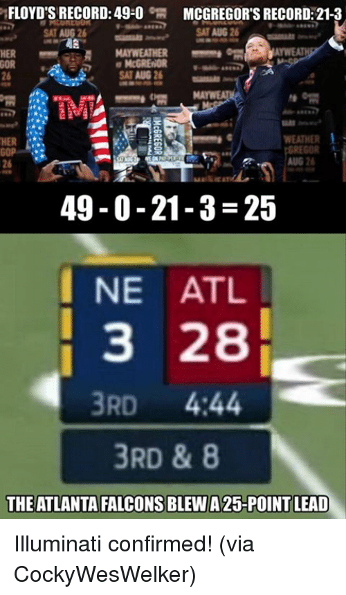 Atlanta Falcons: FLOYD'S RECORD: 49-0  MCGREGOR'S RECORD: 21-3  SAT AUG 26  HER  McGRENDR  TM  HER  WEATHER  GOR  AUG 2  26  49-0-21-3-25  I NE ATL  3 28  3RD 444  3RD & 8  THE ATLANTA FALCONS BLEW A 25-POINT LEAD Illuminati confirmed!  (via CockyWesWelker)
