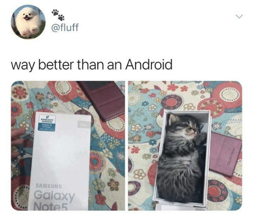 Samsung: @fluff  way better than an Android  SAMSUNG  Galaxy