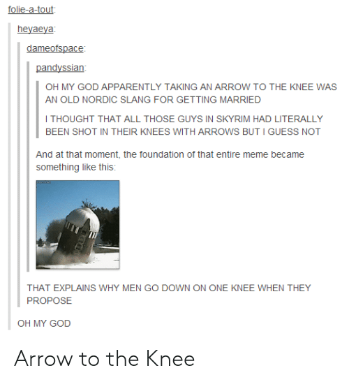 guess not: folie-a-tout  heyaeya  dameofspace  pandyssian  OH MY GOD APPARENTLY TAKING AN ARROW TO THE KNEE WAS  AN OLD NORDIC SLANG FOR GETTING MARRIED  I THOUGHT THAT ALL THOSE GUYS IN SKYRIM HAD LITERALLY  BEEN SHOT IN THEIR KNEES WITH ARROWS BUT I GUESS NOT  And at that moment, the foundation of that entire meme became  something like this:  THAT EXPLAINS WHY MEN GO DOWN ON ONE KNEE WHEN THEY  PROPOSE  OH MY GOD Arrow to the Knee