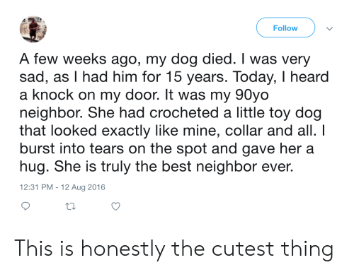 Best, Today, and Sad: Follow  A few weeks ago, my dog died. I was very  sad, as I had him for 15 years. Today, I heard  a knock on my door. It was my 90yo  neighbor. She had crocheted a little toy dog  that looked exactly like mine, collar and all. I  burst into tears on the spot and gave her a  hug. She is truly the best neighbor ever.  12:31 PM - 12 Aug 2016 This is honestly the cutest thing