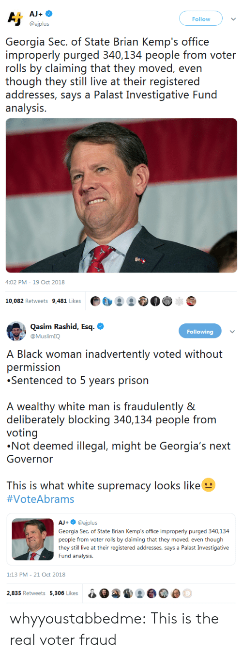 Tumblr, Prison, and Blog: Follow  @ajplus  Georgia Sec. of State Brian Kemp's office  improperly purged 340,134 people from voter  rolls by claiming that they moved, even  ihough ihey sill live at their registeredd  addresses, says a Palast Investigative Fund  analysis.  4:02 PM-19 Oct 2018  10,082 Retweets 9,481 Likes·  :   Qasim Rashid, Esq.  Following  himK  lack woman inadvertently voted without  permission  Sentenced to 5 years prison  A wealthy white man is fraudulently &  deliberately blocking 340,134 people from  voting  Not deemed illegal, might be Georgia's n  Governor  This is what white supremacy looks like  #VoteAbrams  AJ+·@ajplus  Georgia Sec. of State Brian Kemp's office improperly purged 340,134  people from voter rolls by daiming that they moved, even though  they still live at their registered addresses, says a Palast Investigative  Fund analysis  1:13 PM-21 Oct 2018  2.835 Retweets 5.306 Likesa0 whyyoustabbedme: This is the real voter fraud