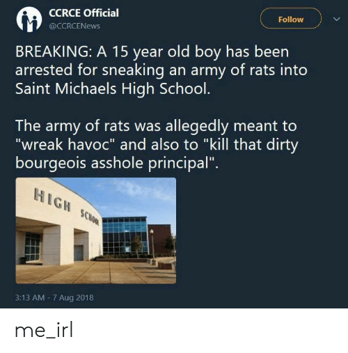 "School, Army, and Dirty: Follow  CCRCE Official  @CCRCENEWS  BREAKING: A 15 year old boy has been  arrested for sneaking an army of rats into  Saint Michaels High School.  The army of rats was allegedly meant to  ""wreak havoc"" and also to ""kill that dirty  bourgeois asshole principal""  HIGH SCHOOL  3:13 AM 7 Aug 2018 me_irl"