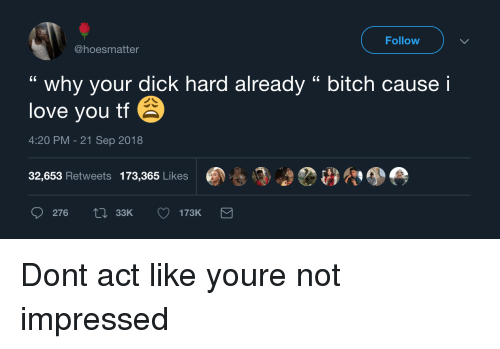 "Bitch, Love, and I Love You: Follow  @hoesmatter  "" why your dick hard already "" bitch cause i  love you tf  4:20 PM-21 Sep 2018  32,653 Retweets 173,365 Likes  276  33K Dont act like youre not impressed"