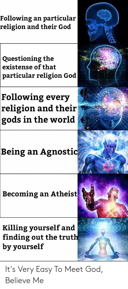 Agnostic: Following  religion and their God  particular  an  Questioning the  existense of that  particular religion God  Following every  religion and theirj  gods in the world  Agnostic  |Being an  Веcoming  an Atheist  Killing yourself and  finding out the truth  by yourself It's Very Easy To Meet God, Believe Me