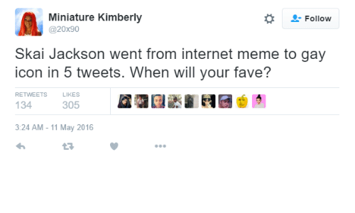 internet meme: Followw  Miniature Kimberly  @20x90  Skai Jackson went from internet meme to gay  icon in 5 tweets. When will your fave?  RETWEETS  LIKES  134  305  3:24 AM - 11 May 2016