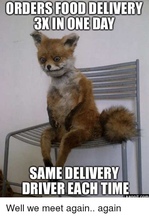 Delivery Driver: FOOD DELIVERY  3X INONE DAY  ORDERS  SAME DELIVERY  DRIVER EACH TIME Well we meet again.. again