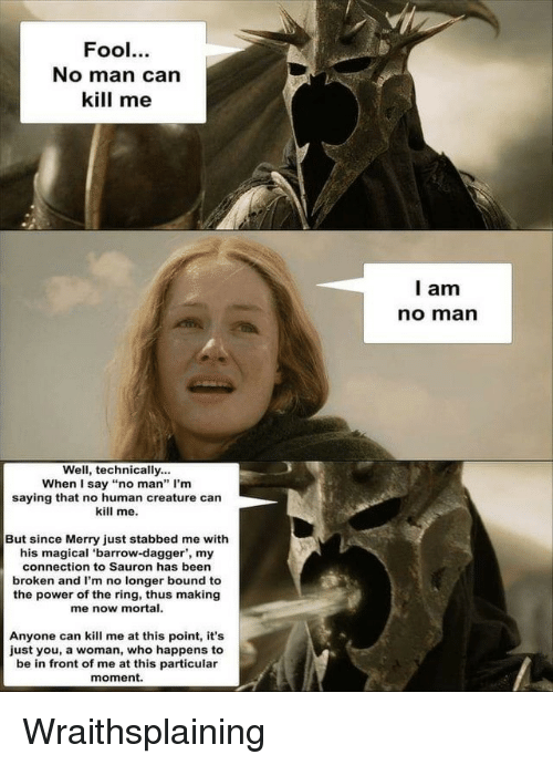 """sauron: Fool.  No man can  kill me  l am  no marn  Well, technically...  When I say """"no man"""" I'm  saying that no human creature can  kill me.  But since Merry just stabbed me with  his magical 'barrow-dagger', my  connection to Sauron has been  broken and I'm no longer bound to  the power of the ring, thus making  me now mortal.  Anyone can kill me at this point, it's  just you, a woman, who happens to  be in front of me at this particular  moment. Wraithsplaining"""