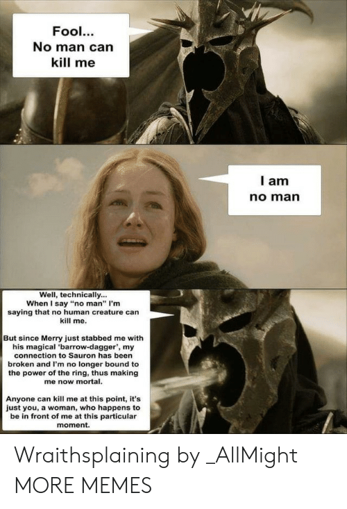 """sauron: Fool.  No man can  kill me  l am  no marn  Well, technically...  When I say """"no man"""" I'm  saying that no human creature can  kill me.  But since Merry just stabbed me with  his magical 'barrow-dagger', my  connection to Sauron has been  broken and I'm no longer bound to  the power of the ring, thus making  me now mortal.  Anyone can kill me at this point, it's  just you, a woman, who happens to  be in front of me at this particular  moment. Wraithsplaining by _AllMight MORE MEMES"""