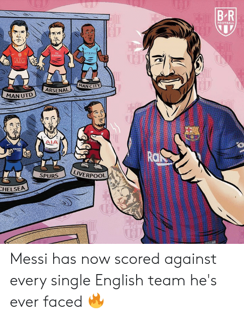 aia: FOOTBALL  eTIHAD  AIG  MAN CITY  ARSENAL  MAN UTD  AIA  Ro  LIVERPOOL  SPURS  HELSEA Messi has now scored against every single English team he's ever faced 🔥
