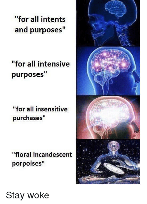 """stay woke: """"for all intents  and purposes""""  for all intensive  purposes""""  """"for all insensitive  purchases""""  """"floral incandescent  porpoises"""" Stay woke"""