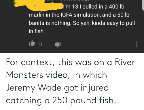 monsters: For context, this was on a River Monsters video, in which Jeremy Wade got injured catching a 250 pound fish.
