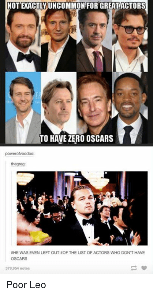 Poor Leo: FOR GREAT ACTORS  COMMON FOR GREAT ACTORS  TO HAVE ZERO OSCARS  powerofvoodoo  thegreg:  NHE WAS EVEN LEFT OUT OF THE LUST OF ACTORS WHO DON'T HAVE  OSCARS  379,954 notes Poor Leo