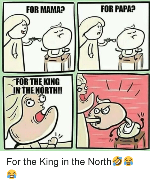 Memes, 🤖, and Mama: FOR MAMA?  FOR PAPA?  .FORTHERING  INTHE.NORTH!! For the King in the North🤣😂😂