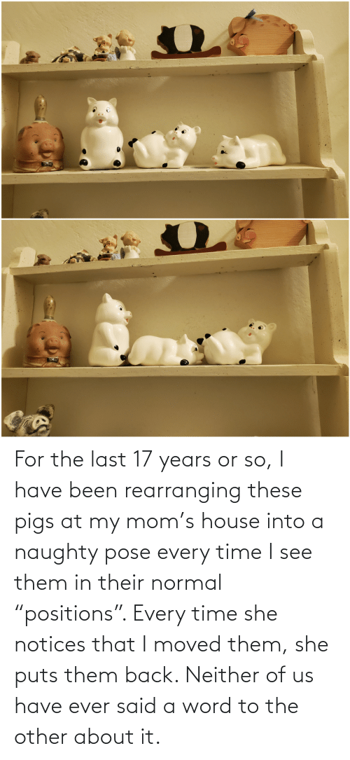 "Neither: For the last 17 years or so, I have been rearranging these pigs at my mom's house into a naughty pose every time I see them in their normal ""positions"". Every time she notices that I moved them, she puts them back. Neither of us have ever said a word to the other about it."