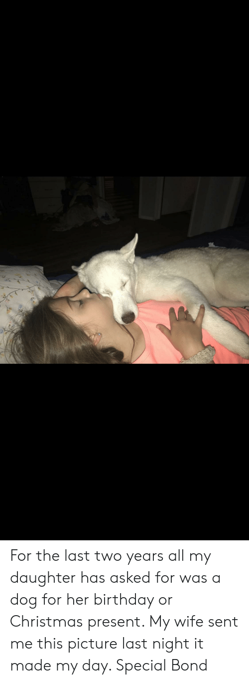 Birthday, Christmas, and Wife: For the last two years all my daughter has asked for was a dog for her birthday or Christmas present. My wife sent me this picture last night it made my day. Special Bond