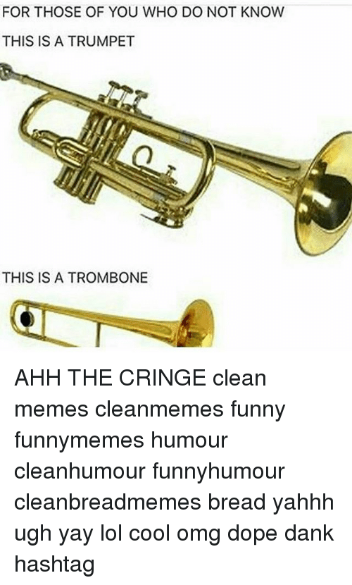 Clean Memes: FOR THOSE OF YOU WHO DO NOT KNOW  THIS IS A TRUMPET  THIS IS A TROMBONE AHH THE CRINGE clean memes cleanmemes funny funnymemes humour cleanhumour funnyhumour cleanbreadmemes bread yahhh ugh yay lol cool omg dope dank hashtag