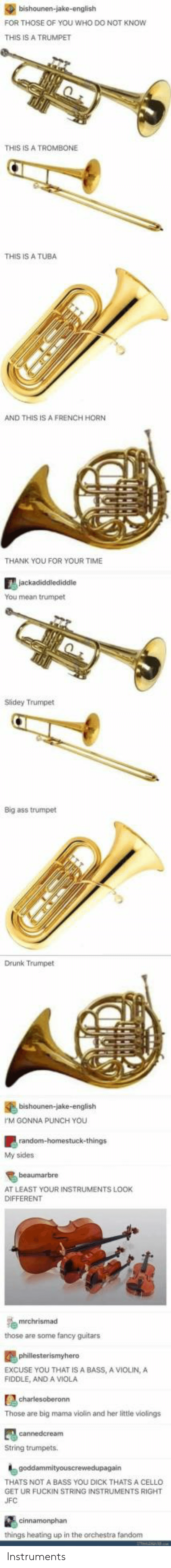 My Sides: FOR THOSE OF YOU WHO DO NOT KNOw  THIS IS A TRUMPET  THIS IS A TROMBONE  THIS IS A TUBA  AND THIS IS A FRENCH HORN  THANK YOU FOR YOUR TIME  You mean trumpet  Slidey Trumpet  Big ass trumpet  Drunk Trumpet  M GONNA PUNCH YOU  My sides  AT LEAST YOUR INSTRUMENTS LOOK  DIFFERENT  those are some fancy guitars  EXCUSE YOU THAT IS A BASS, A VIOLIN,A  FIDDLE, AND A VIOLA  Those are big mama violin and her little violings  String trumpets  THATS NOT A BASS YOU DICK THATS A CELLO  GET UR FUCKIN STRING INSTRUMENTS RIGHT  things heating up in the orchestra fandom Instruments