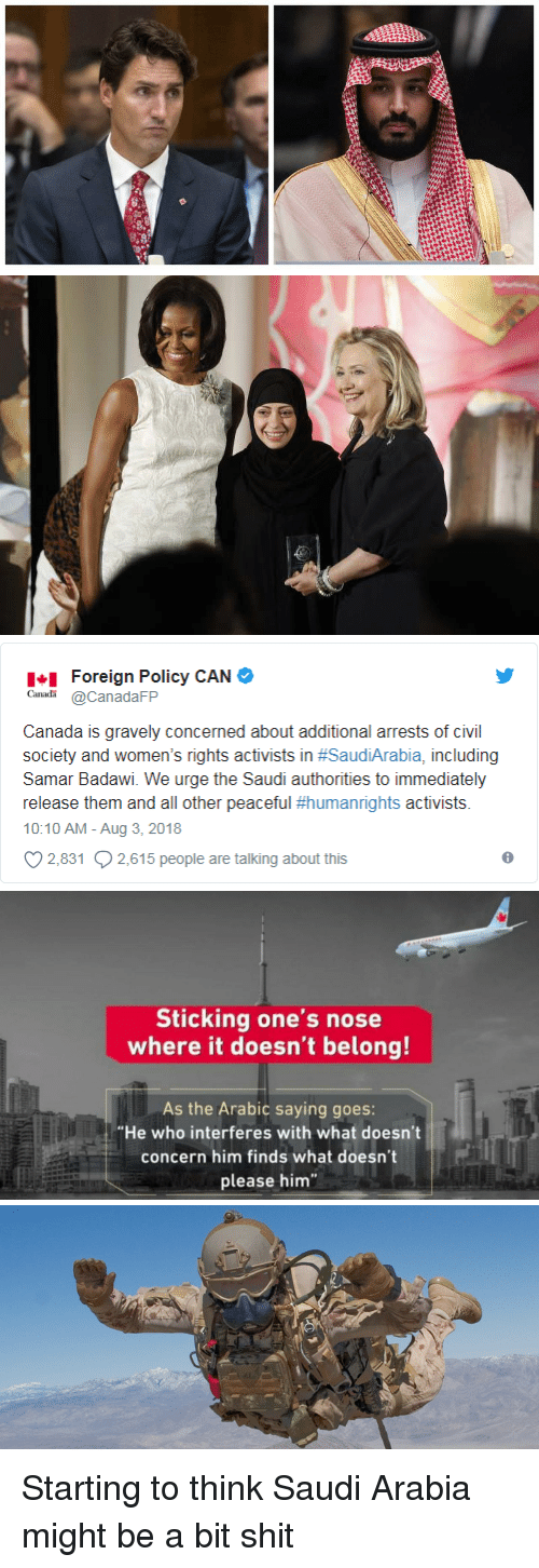 "Gravely: Foreign Policy CAN  CanadaFP  Canada is gravely concerned about additional arrests of civil  society and women's rights activists in #SaudiArabia, including  Samar Badawi. We urge the Saudi authorities to immediately  release them and all other peaceful #humanrights activists.  10:10 AM - Aug 3, 2018  2,831 2,615 people are talking about this   Sticking one's nose  where it doesn't belong!  As the Arabic saying goes:  ""He who interferes with what doesn't  concern him finds what doesn't  please him Starting to think Saudi Arabia might be a bit shit"