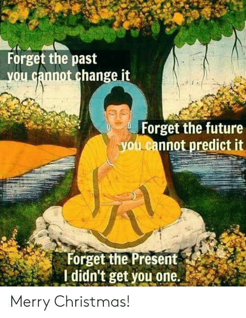 Christmas, Future, and Merry Christmas: Forget the past  you cannot change it  Forget the future  youLcannot predict it  Forget the Present  I didn't get you one. Merry Christmas!