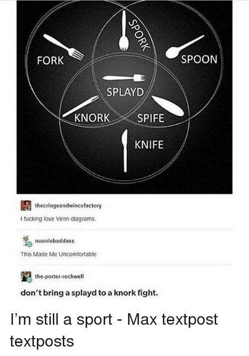 Textposts: FORK  SPOON  SPLAYD  KNIFE  thecringeandwincefactory  I fucking tove Venn diagrams  noonlebaddass  This Made Me Uncomfortable  the-porter-rockwell  don't bring a splayd to a knork fight. I'm still a sport - Max textpost textposts