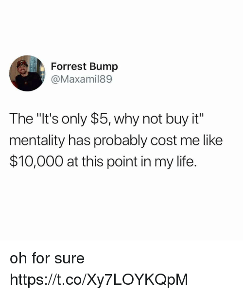 """Funny, Life, and Why: Forrest Bump  @Maxamil89  The """"It's only $5, why not buy it""""  mentality has probably cost me like  $10,000 at this point in my life. oh for sure https://t.co/Xy7LOYKQpM"""
