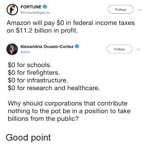 aoc: FORTUNE  @FortuneMagazine  Follow V  Amazon will pay $0 in federal income taxes  on $11.2 billion in profit.  Alexandria Ocasio-Cortez  Follow  @AOC  $0 for schools  $0 for firefighters  $0 for infrastructure.  $0 for research and healthcare.  Why should corporations that contribute  nothing to the pot be in a position to take  billions from the public? Good point
