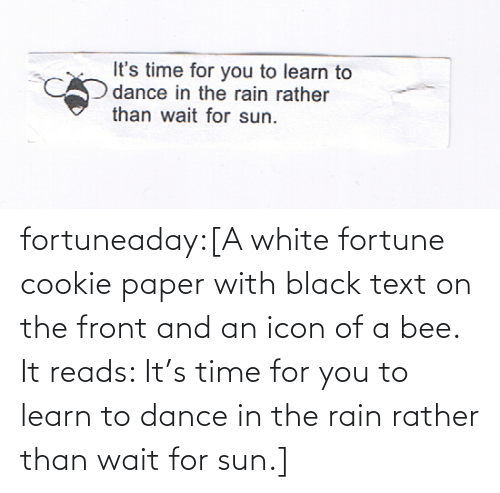 sun: fortuneaday:[A white fortune cookie paper with black text on the front and an icon of a bee. It reads: It's time for you to learn to dance in the rain rather than wait for sun.]