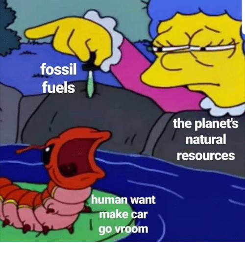vroom: fossil  fuels  the planets  natural  resources  uman want  make car  go vroom