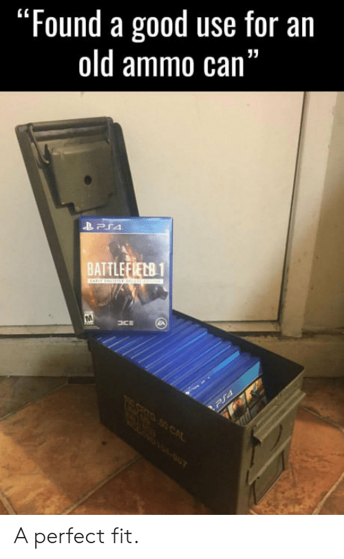 "Good, Old, and Fit: ""Found a good use for an  old ammo can""  BATTLEFIELB1 A perfect fit."