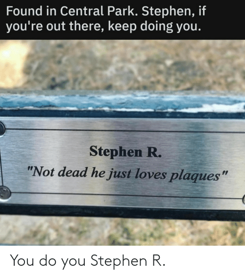 "Stephen: Found in Central Park. Stephen, if  you're out there, keep doing you.  Stephen R.  ""Not dead he just loves plaques"" You do you Stephen R."