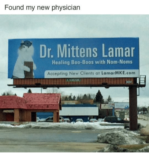 Boo, Memes, and 🤖: Found my new physician  Dr. Mittens Lamar  Healing Boo-Boos with Nom-Noms  Accepting New Clients at LamarMKE.com