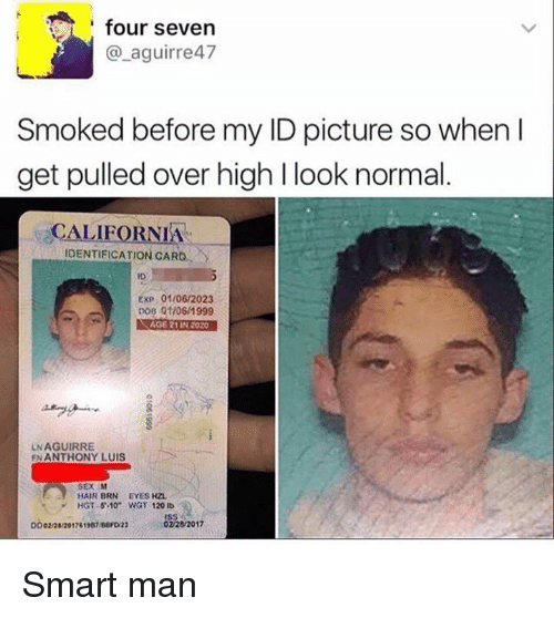 Dank, Sex, and California: four seven  @_aguirre47  Smoked before my ID picture so when l  get pulled over high l look normal  CALIFORNIA  IDENTIFICATION CARD,  ID  ExP 01/06/2023  DoB 01/06/1999  AGE 21 IN 2020  LN AGUIRRE  FN ANTHONY LUIS  SEX M  HAIR BRN EYES HZL  HGT 5.10 WGT 120 lb Smart man