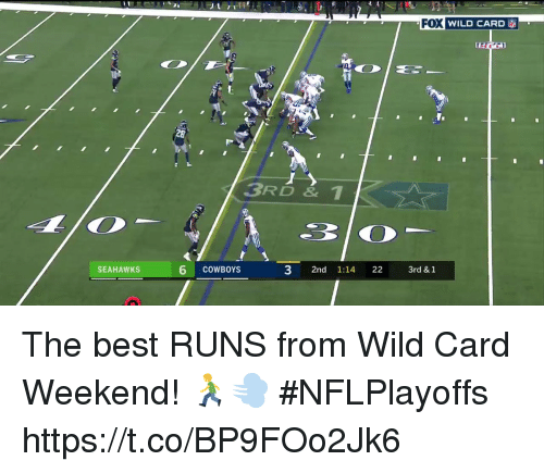 Memes, Best, and Seahawks: FOWILD CARD  Ti  28  3RD & 1  6 coWBOrs  3 2nd 1:14 223rd & 1  SEAHAWKS The best RUNS from Wild Card Weekend! 🏃‍♂️💨 #NFLPlayoffs https://t.co/BP9FOo2Jk6