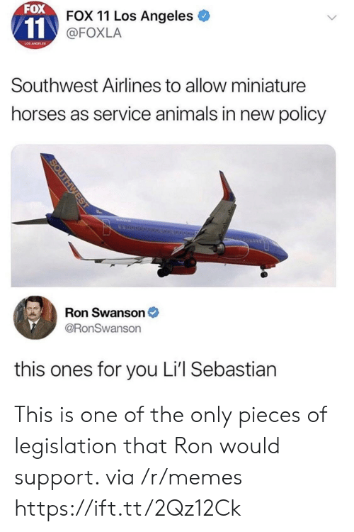 Southwest: FOX  FOX 11 Los Angeles  @FOXLA  LOS ANGELES  Southwest Airlines to allow miniature  horses as service animals in new policy  Ron Swanson  @RonSwanson  this ones for you Li'l Sebastian This is one of the only pieces of legislation that Ron would support. via /r/memes https://ift.tt/2Qz12Ck
