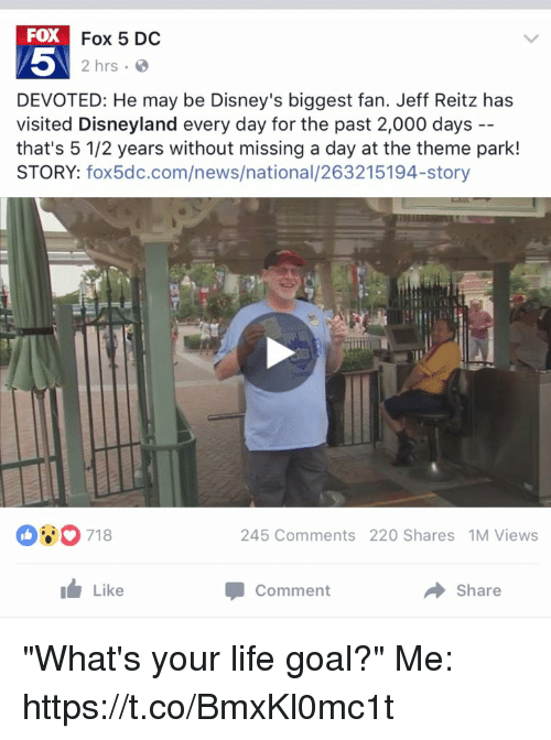 """Life Goal: FOX  Fox 5 DC  2 hrs.  DEVOTED: He may be Disney's biggest fan. Jeff Reitz has  visited Disneyland every day for the past 2,000 days  that's 5 1/2 years without missing a day at the theme park!  STORY  fox5dc.com/news/national  245 Comments 220 Shares 1M Views  Like  Share  Comment """"What's your life goal?""""  Me: https://t.co/BmxKl0mc1t"""