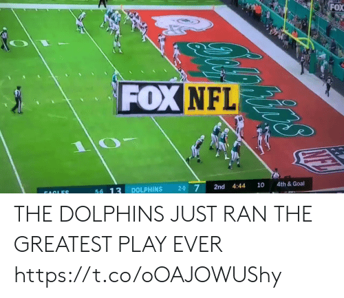 Dolphins: FOX  FOX NFL  4th& Goal  10  4:44  2-9 7  2nd  DOLPHINS  5-6 13  FACLES THE DOLPHINS JUST RAN THE GREATEST PLAY EVER  https://t.co/oOAJOWUShy