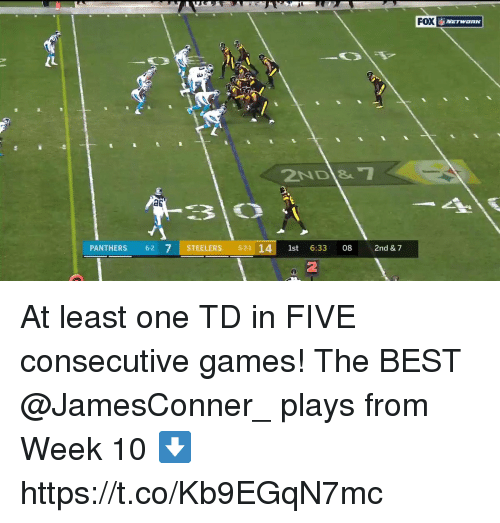Memes, Best, and Games: FOX  IL  a6  PANTHERS 62 7 STEELERS 521 14st 6:33 08 2nd & 7  2 At least one TD in FIVE consecutive games!  The BEST @JamesConner_ plays from Week 10 ⬇️ https://t.co/Kb9EGqN7mc