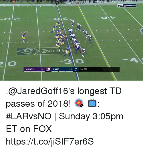 Memes, Rams, and Vikings: FOX  NETWORIK  30  VIKINGS 11 10 RAMS  3-0 7 2nd QTR .@JaredGoff16's longest TD passes of 2018! 🎯  📺: #LARvsNO | Sunday 3:05pm ET on FOX https://t.co/jiSIF7er6S