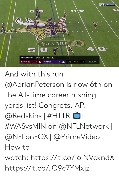 congrats: FOX NETwoRK  1ST &10  4 0  First Downs  WAS 12  MIN 12  5-2 16  1-6 6  REDSKINS  VIKINGS  3rd  1st & 10  7:56  15 And with this run @AdrianPeterson is now 6th on the All-time career rushing yards list! Congrats, AP!  @Redskins | #HTTR  📺: #WASvsMIN on @NFLNetwork | @NFLonFOX | @PrimeVideo How to watch:https://t.co/I6INVckndX https://t.co/JO9c7YMxjz