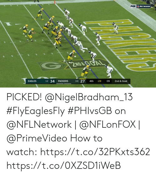 Philadelphia Eagles, Memes, and Goal: FOX NETWORK  G 2ND&GGAL  1-2 34  3-0 27  EAGLES  PACKERS  4th  28  09  2nd & Goal PICKED! @NigelBradham_13 #FlyEaglesFly  #PHIvsGB on @NFLNetwork | @NFLonFOX | @PrimeVideo How to watch:https://t.co/32PKxts362 https://t.co/0XZSD1iWeB