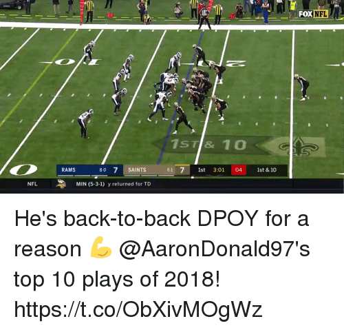 Back to Back, Memes, and Nfl: FOX NFL  10  1ST& 10  RAMS  8-0 7 SAINTS  61 1st 3:01 04 st & 10  NFL  MIN (5-3-1) y returned for TD He's back-to-back DPOY for a reason 💪  @AaronDonald97's top 10 plays of 2018! https://t.co/ObXivMOgWz
