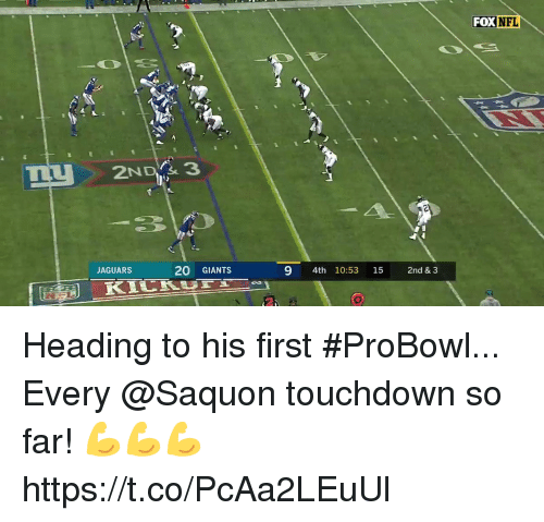 jaguars: FOX NFL  2NDY& 3  JAGUARS  20 GIANTS  9 4th 10:53 15 2nd & 3 Heading to his first #ProBowl...  Every @Saquon touchdown so far! 💪💪💪 https://t.co/PcAa2LEuUl