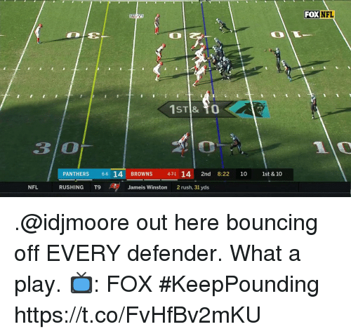 Jameis Winston, Memes, and Nfl: FOX NFL  3 O  PANTHERS 6 14 BROWNS  471 14 2nd 8:22 10 1st & 10  NFL  RUSHING T9 、se  Jameis Winston  2 rush, 31 yds .@idjmoore out here bouncing off EVERY defender.  What a play.  📺: FOX #KeepPounding https://t.co/FvHfBv2mKU
