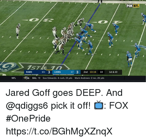 Memes, Nfl, and Jared: FOX  NFL  3  RAMS  101 3 LIONS  4-7 32nd 10:16 18 1st & 10  NFL  >  BALID  Gus Edwards: 4 rush, 19 yds  Mark Andrews: 2 rec, 26 yds Jared Goff goes DEEP.  And @qdiggs6 pick it off!  📺: FOX #OnePride https://t.co/BGhMgXZnqX